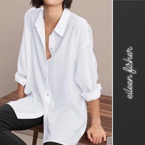 Eileen Fisher White Classic Collar Shirt